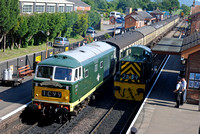 D7017 1655 Bishops Lydeard - Minehead and D9526 at Bishops Lydeard on Sunday 7 June 2015