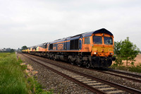 66732 with 66847 / 66848 / 70815 / 70807 / 70806 / 70808 0X75 1400 Bescot - Westbury on Sunday 28 May 2018